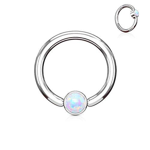 1 Piece Opal Set Flat-Back Captive Bead Septum / Nipple Rings - 16g or 14g Body Jewelry (16g - White) (Opal Bead Sets)