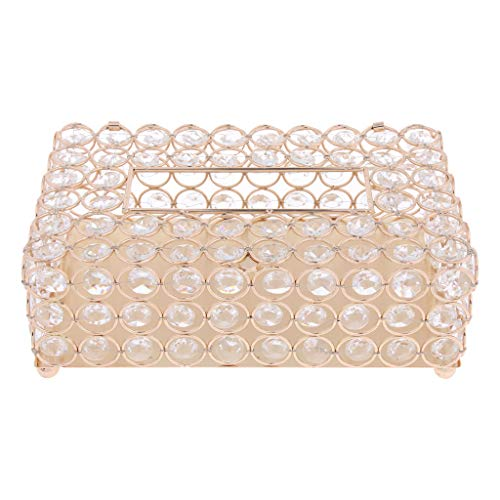 Baoblaze Stunning Crystal Tissue Box Cover Holder Case Facial Hand Paper Box Dispenser, 200Pcs Tissues Container Organizer Box Case Holder