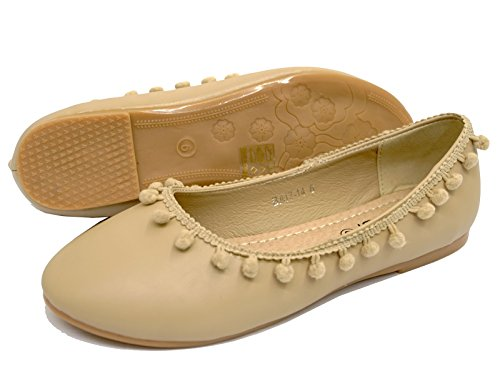 Ballet Shoes Beige Sizes Flat Ladies Comfy Work Slip Pumps 8 3 Ballerina On School pFz55qYw