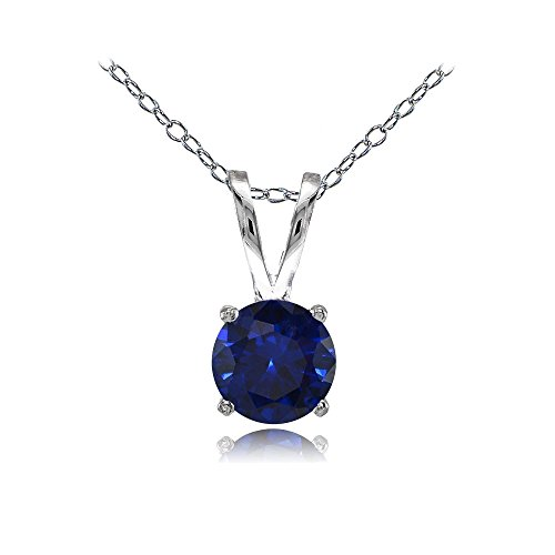 Solitaire Sapphire Round (Sterling Silver Created Blue Sapphire 7mm Round Solitaire Necklace)