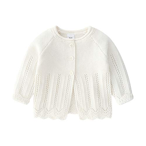 (Feidoog Knitted Baby Girls Cardigan Sweater Toddler Knit Button up Cardigan Sweater Outwear,White,12-18M)