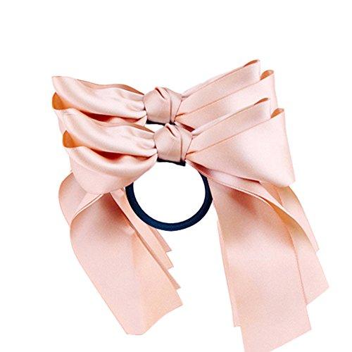 Catnew 2Pcs Ribbon Rope Bowknot Hair Ties Elastic Hair Band Girl Headbands -Pink Pink Ribbon Tie