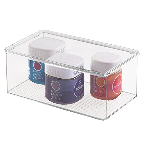 mDesign Long Plastic Stackable Storage Container Bin Box, Hinged Lid - Bathroom Cabinet Organizer for Toiletries, Makeup, First Aid, Hair Accessories, Bar Soap, Loofahs, Bath Salts - Clear