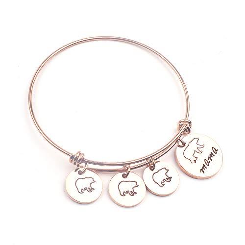 Anlive Mama Bear Bracelet with 1 2 3 Cubs Adjustable Bangle Bracelet Mom Gifts (3 Cubs Rose ()