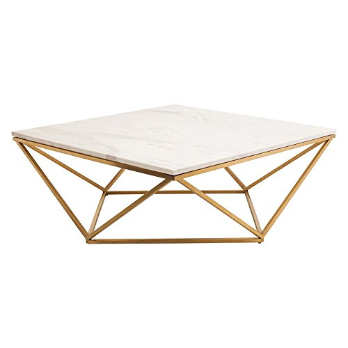 Nuevo Jasmine Square Marble Top Coffee Table in Gold and Whi