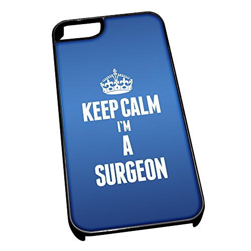 Nero cover per iPhone 5/5S blu 2686 Keep Calm I m A Surgeon