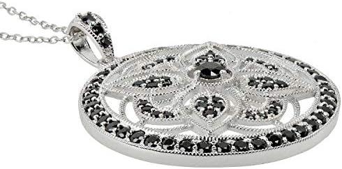 ELEDORO - Collana da donna in argento 925 con ciondolo a forma di spinello, colore: nero