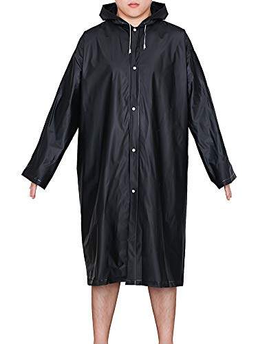 (Mudder Adult Portable Raincoat Rain Poncho with Hoods and Sleeves (Black))