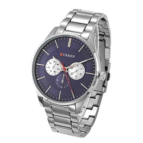 Curren Men's Quartz Stainless Steel Watch, M8282 Casual Simple Men Teen Alloy Wristwatch Waterproof Analog Round Dial Quartz Watches Gifts (White Blue) - 24 Diamond White Dial