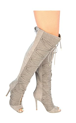 Giovani Donne Womens Leatherette Trendy Slouchy Knee High Flat Fall Winter Boot Taupe k145nB