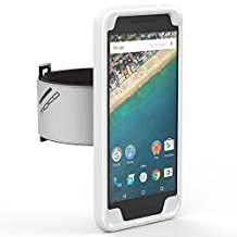 Nexus 5X Armband, MoKo Silicone Armband for Google Nexus 5X by LG 5.2 Inch 2nd Gen Smartphone - Key Holder Slot, well-rounded protection, Perfect Earphone Connection while Running, Crystal CLEAR