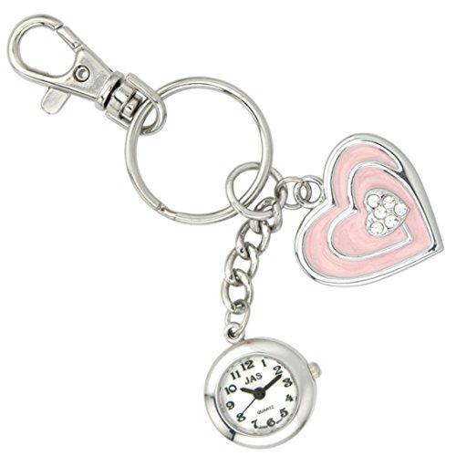 JAS Unisex Novelty Belt Fob/Keychain Watch Pink Heart Silver Tone