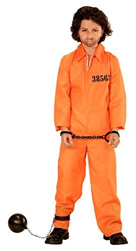 [County Jail Inmate - Childrens Fancy Dress Costume - Large - Age 11-13 - 158cm by Widman] (County Jail Jumpsuit Costume)