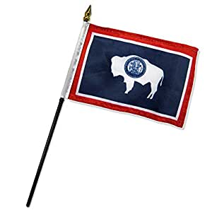 """Quality Standard Flags One Dozen Wyoming Stick Flag, 4 by 6"""""""