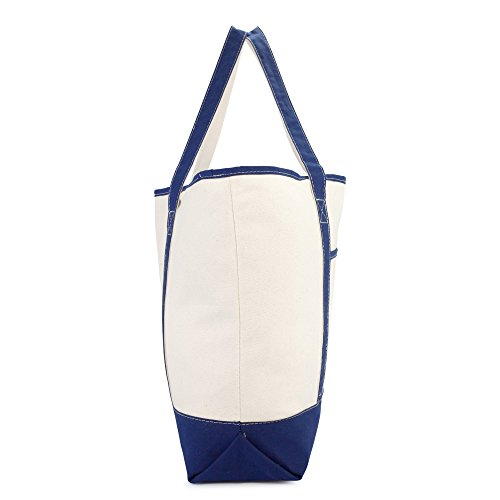 DALIX 22'' Extra Large Shopping Tote Bag w Outer Pocket in Navy Blue and Natural by DALIX (Image #3)