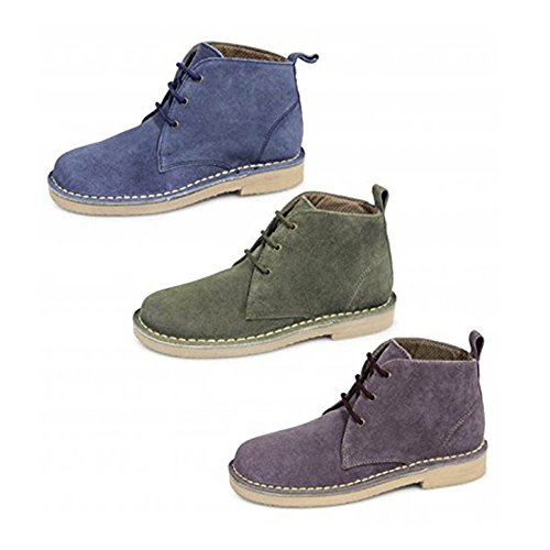 Womens Roamer L380 Suede Leather Lace Up Desert Boots Ankle Shoes - UK 3, Plum