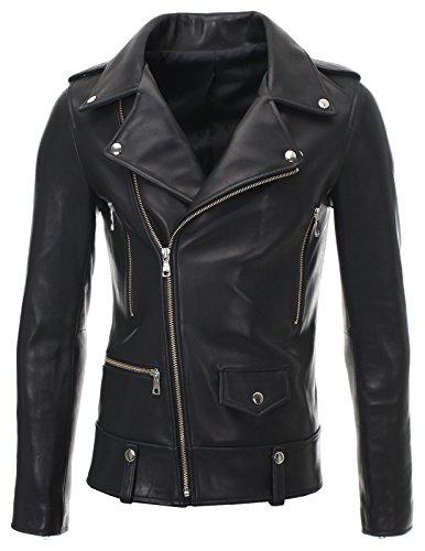 FLATSEVEN Mens Slim Fit Genuine Leather Motorcycle Jacket Press Stud (LJ701), L