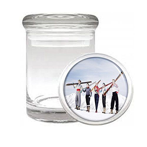 "Medical Glass Stash Jar Vintage Retro Skiing Skis Skier S47 Air Tight Lid 3"" x 2"" Small Storage Herbs & Spices"