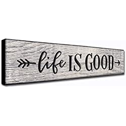 LACOFFIO Life is Good 16 x 3.5 Inches Wall Inspirational Quotes Art Decor Plaque Rustic Motivational Home Wall Hanging Signs Great Housewarming Gift Idea