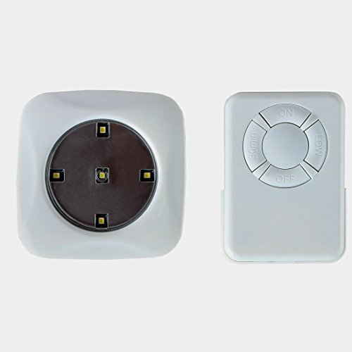 lilys home led wireless remote control puck light with 5 led lights. Black Bedroom Furniture Sets. Home Design Ideas