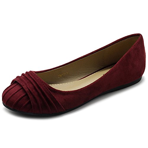 Color Suede Shoes Ballet Burgundy Comforts Women's Muliti Faux Flat Ollio Pleated tYTqxf