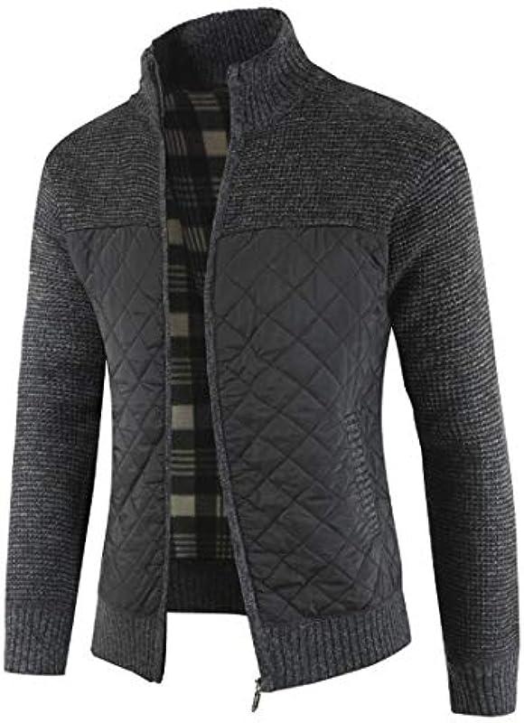 YJNH Męskie Strickjacke Cardigan Feinstrick Mit Stehkragen Patchwork Reißverschluss Outwear Winter Warm Bequemer Breathable Casual Daily Wear: Odzież