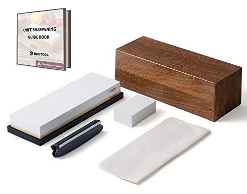 Whetstone 5000/10000 Grit Knife Sharpening Stone | Non-Slip Antique Customized Box | Two Sided Polishing Blade Kit | 6-in-1 Sharpener Waterstone Set for Straight Razor by SHOTOOL ()