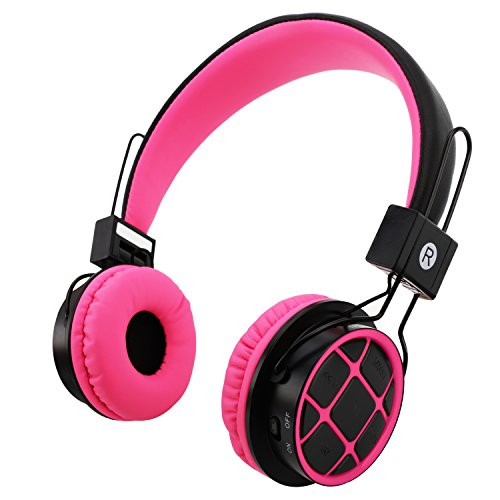 Kids Headphones Wireless Bluetooth Headphones for Kids Toddlers On Ear Headset with 3.5mm Wired Jack Cord SD Card Slot for PC Tablet Iphone Ipod Cellphone-Handal (Rose pink/Black) Ipod Black Headphone