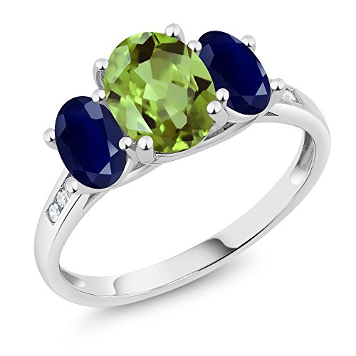 Gem Stone King 10K White Gold Diamond Accent Oval Green Peridot Blue Sapphire 3-Stone Ring 2.43 Ct (Size 6)