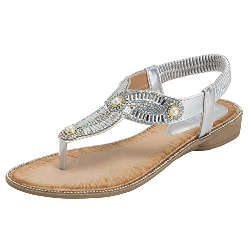 VIVASHOES Womens Elasticated Strappy Diamante Panel Summer Slip On Open Toe Wedge Sandals - Silver - US8/EU39 - KL0407 (Silver 8 Panel)