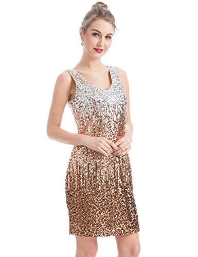 MANER Women's Sexy V Neck Sequin Glitter Bodycon Stretchy Club Mini Party Dress (XS, Silver/Rose Gold/Brown)