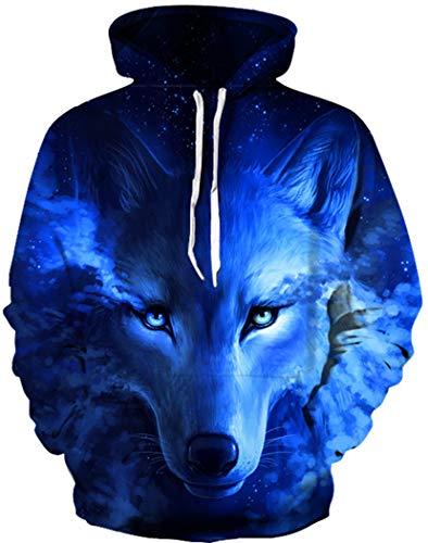 - HaniLav Teen Boys' Wolf Fleece Sweatshirts Pocket Pullover Hoodies 5-12Y,Blue Wolf,9-10T