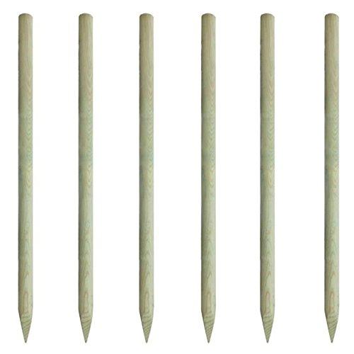 Lot de 6 piquets de clôture en bois diamètre 60mm Appointés en 2m de long Sud Bois