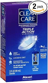 Clear Care Contact Lens Cleaning Disinfecting Solution Travel Pack - 3oz, Pack of 2