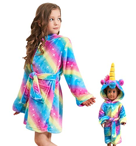 Soft Unicorn Hooded Bathrobe Sleepwear for Matching Doll