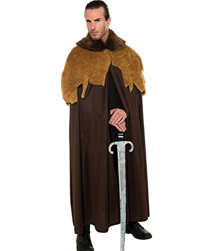 Rubie's Costume Deluxe Medieval Warrior Cloak With Faux Fur Trim, Brown, Standard Costume ()