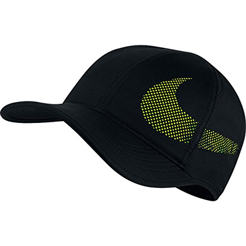 (Nike Unisex Featherlite Aerobill Perforated Swoosh Hat Black/Volt)
