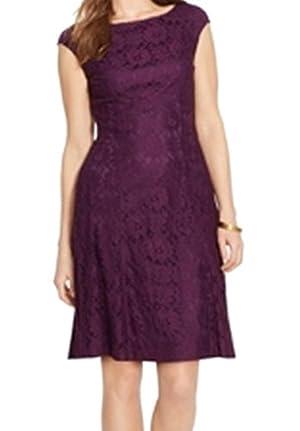 American Living Women's Floral Lace Sheath Dress Purple 8