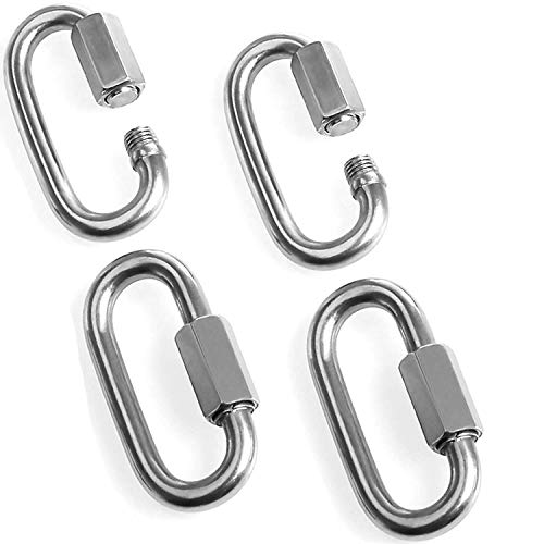Acrux7 Heavy Duty Locking Carabiner Clip for Rock Climbing, 4 Pack Stainless Steel Carabiners, Hexagon Stud Connector & Deep Thread for Heavy Duty Climbing Hook, Strongly Stamping
