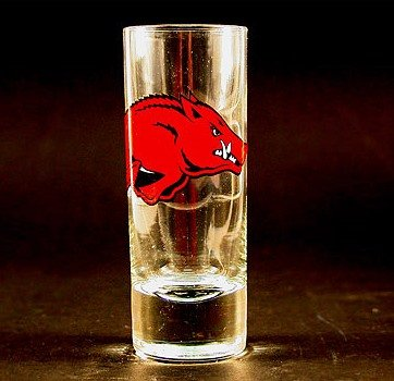 NCAA Licensed Cordial Logo Hype Glass Shot Glass (2 Oz.) School Logo on 2 Oz. Glass Shot Glass (Arkansas Razorbacks)