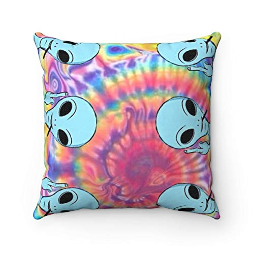 Pattebom Alien Throw Pillow Alien Pillow Tie Dye Home Decor Hipster Bedroom Decor Funny Apartment Decor Tumblr Cushion Decor