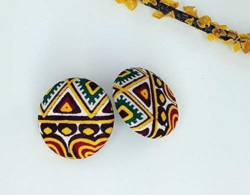Small Button Earrings | Dashiki Wax Print | Cloth and Cord