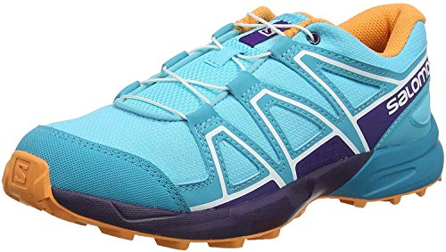 Salomon Kids' Speedcross J Trail Running Shoes, Blue Curacao/Acai/Bird Of Paradise, 3
