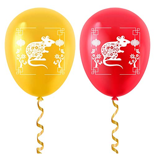Chinese New Year Balloons - 2 Metallic Colors Gold & Red ...