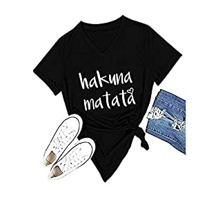Women's Hakuna Matata T-Shirt Cute Letter Print Short Sleeve Tee Top Funny Graphic T-Shirt