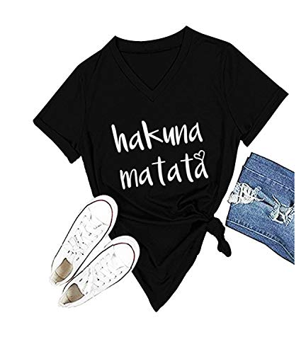 Women's Hakuna Matata T-Shirt Cute Letter Print Short Sleeve Tee Top Funny Graphic T-Shirt (M, Black) -