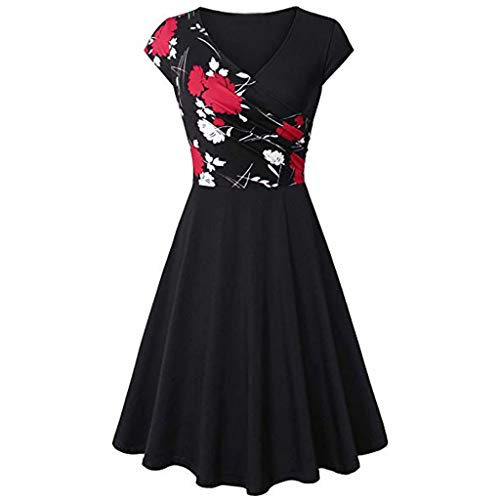 - Dresses for Women Chaofanjiancai Summer Cross V- Neck Cap Sleeve Dress Vintage Elegant Flared A-Line Dress