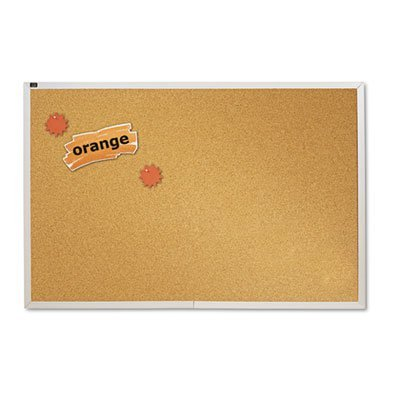 Natural Cork Bulletin Board, 72 x 48, Anodized Aluminum Frame, Sold as 1 Each by Quartet