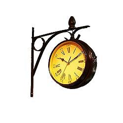 Lin Kou European Retro Fashion Creative Home Wall Clock Pastoral wall Clock-sided Hanging Clocks.