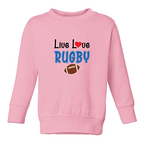 Cute Rascals Live Love Rugby Sport 60/40 Cotton/Polyester Fleece Long Sleeve Tapped Neck Unisex Toddler Sweatshirt Pullover - Soft Pink, 5/6T -